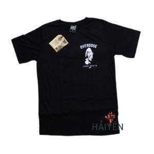 Áo thun Thái Lan đen in 3D bàn tay xương cầm hoa hồng trắng T0154