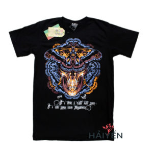 Áo thun Thái Lan đen in 3D mặt xương sọ đeo mặt nạ bướm T0161