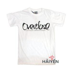 Áo thun trắng in 3D Thái Lan chữ OverDose đen kiểu thư pháp T0150
