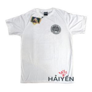 Áo thun trắng in 3D Thái Lan logo tròn hình tam giác Ai Cập trên ngực áo trái T0149