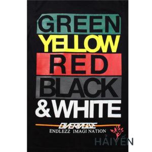 Logo Áo thun Thái Lan đen in 3D 5 màu xanh lá vàng đỏ đen trắng T0129