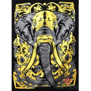 Logo Áo thun Thái Lan in 3D hình đầu voi với cặp ngà dài nhọn nhũ vàng T0140