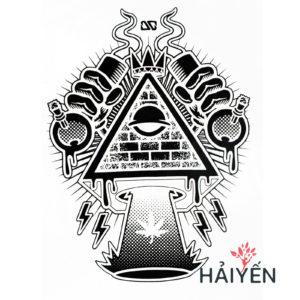 Logo Áo thun trắng in 3D Thái Lan hình tam giác Ai Cập có mắt cầm bình thí nghiệm T0149