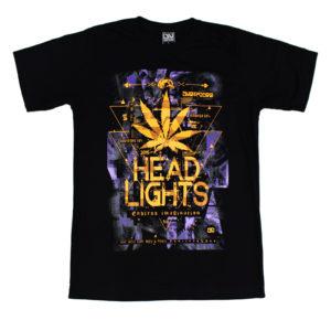 Áo thun Thái Lan màu đen in 3D hình lá thông và chữ Head Lights màu vàng T0164