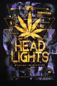Logo Áo thun Thái Lan màu đen in 3D chữ Head Lights màu vàng trên nền ánh sáng tím T0164