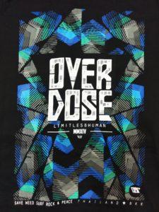 Áo thun Thái Lan đen in 3D chữ OverDose trên nền mũi tên xám xanh lá xanh dương T0209