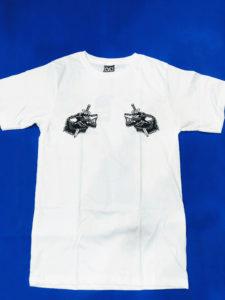 Áo thun Thái Lan trắng in 3D 2 đầu sói đen nhỏ trên 2 bên ngực áo T0211