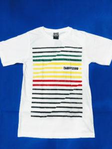 Áo thun Thái Lan trắng in 3D kẻ sọc ngang đen xanh lá vàng đỏ đen T0204