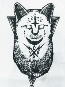 Logo Áo thun Thái Lan trắng in 3D mèo địa ngục đen ma mị T0206