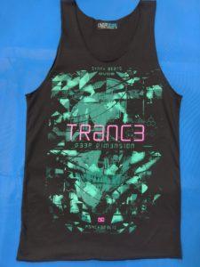 Áo thun 3 lỗ in 3D Thái Lan chữ Trance hồng trên hình đầu lâu xanh lá cây đậm TKT0011