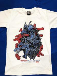 Áo thun in 3D BKK Thái Lan đầu sói samurai xanh trên nền máu đỏ T0218