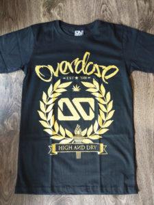 Áo thun in 3D Thái Lan logo OD nằm trong vòng nguyệt quế nhũ vàng T0221