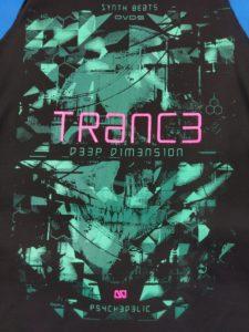 Logo Áo thun 3 lỗ in 3D Thái Lan chữ Trance hồng trên nền màu xanh lá đậm TKT0011