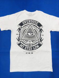 Mặt sau Áo thun BKK in 3D Thái Lan chữ Overdose My Eyes Low bọc quanh tam giác có mắt T0226