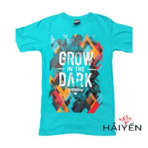 Áo thun 3D Thái Lan xanh ngọc in chữ Grow in Dark trong lòng màu sắc cam đỏ xám T0249