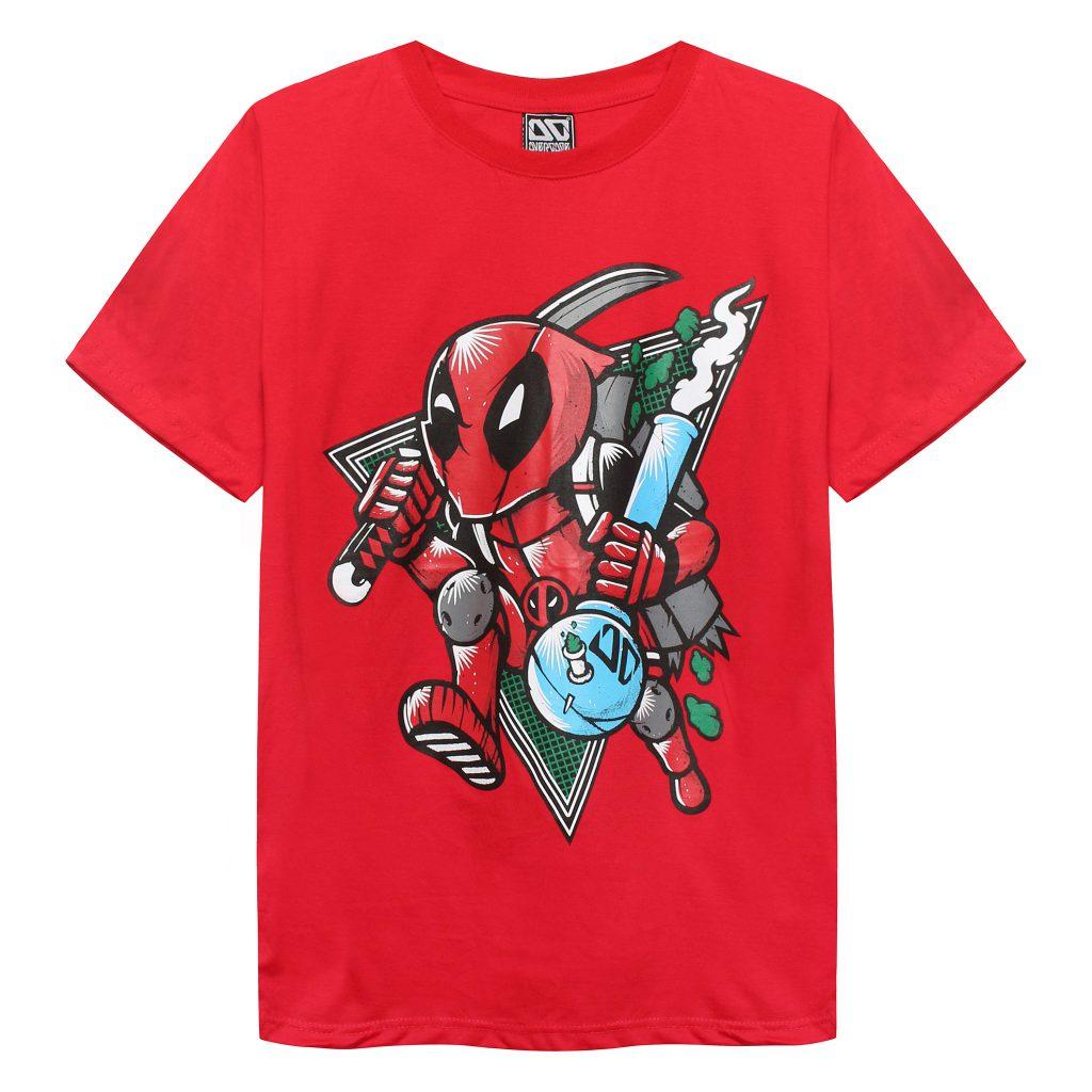 Áo thun Overdose Thái màu đỏ in 3D hình Deadpool tí hon T0282