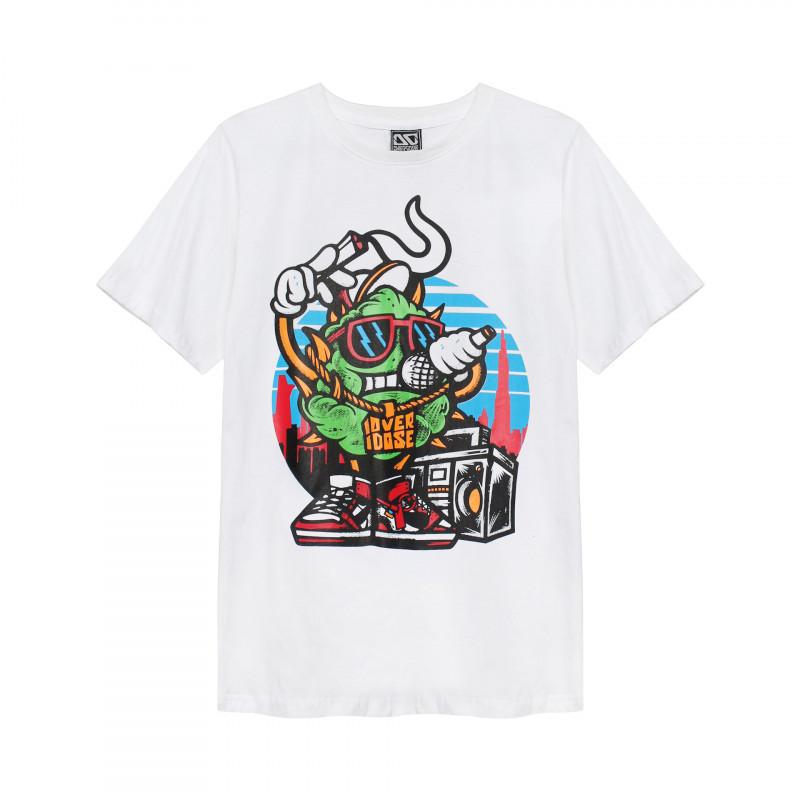 Áo thun Thái Lan màu trắng in 3D cục cỏ xanh đeo dây chuyền Overdose đọc Rap Hiphop T0285