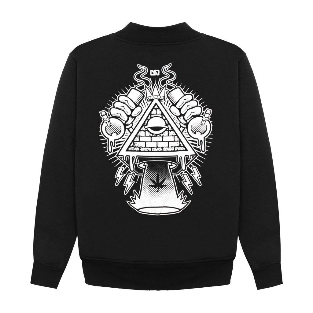 Mặt sau Áo khoác Overdose Thái in 3D kim tự tháp trắng đội vương miệng khè lửa AK003