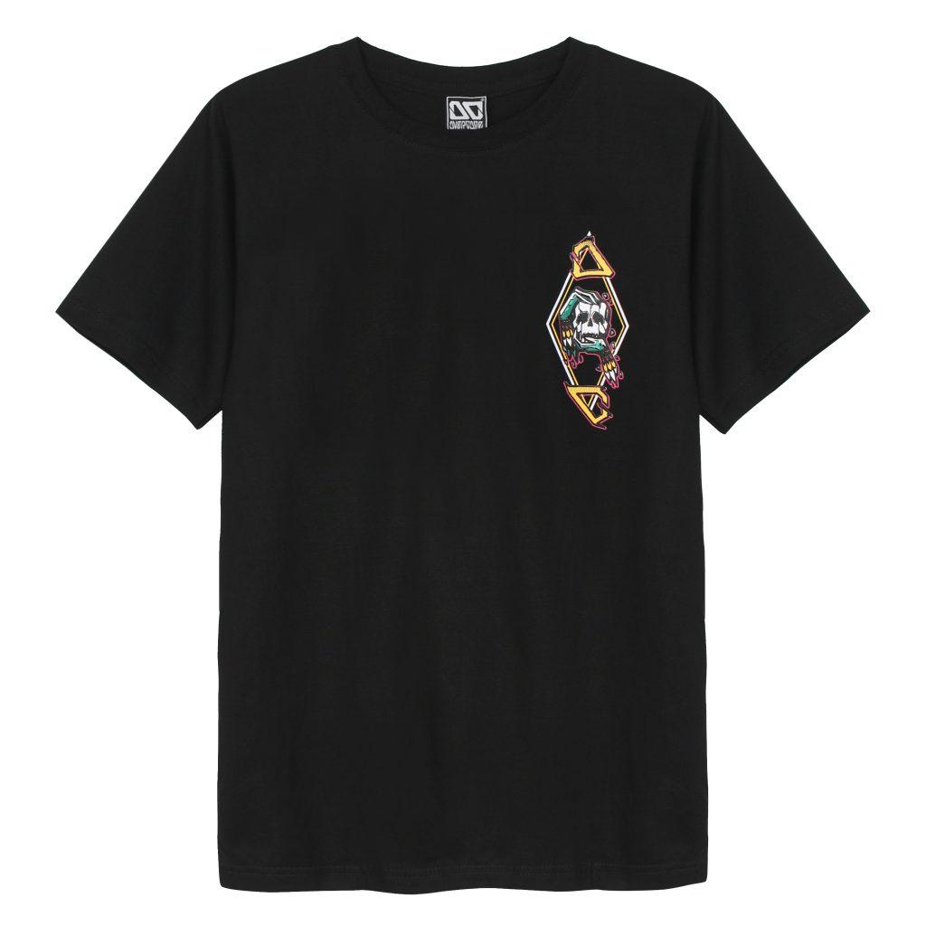 Áo thun Overdose Thái in 3D logo đầu sọ trong hình thoi trên ngực trái T0287