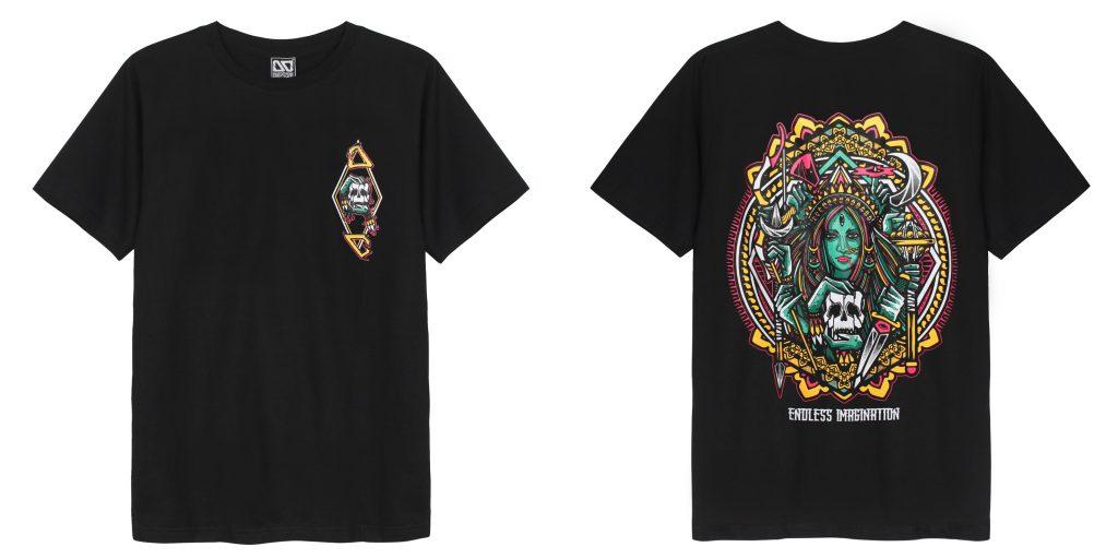 Áo thun Thái Lan Overdose in 3D logo đầu sọ trong hình thoi trên ngực trái T0287