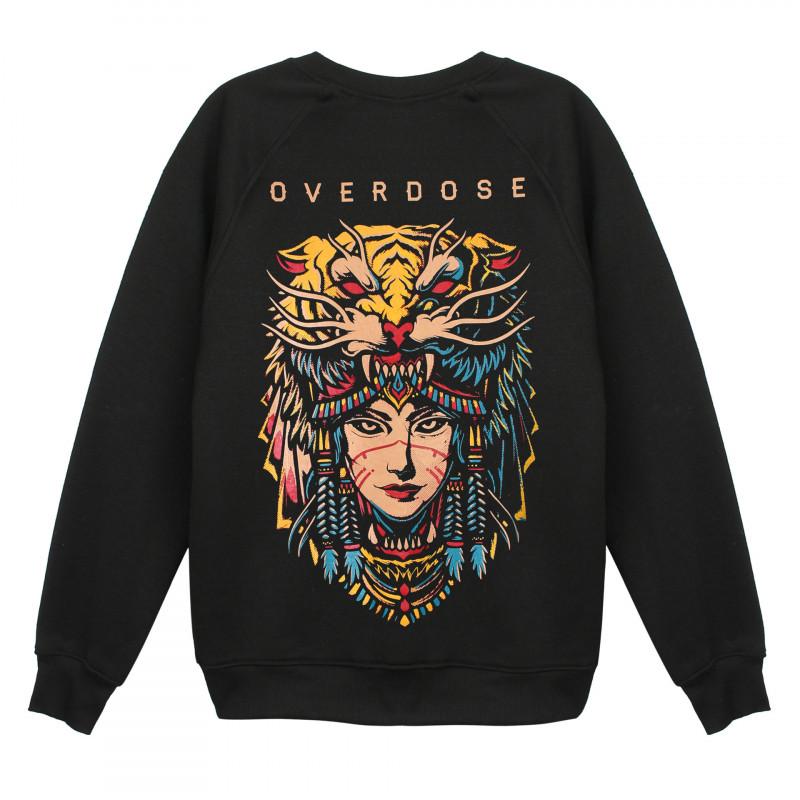 Mặt sau Áo sweater Overdose Thái in 3D hình nữ tù trưởng đội nón đầu cọp dũng mãnh AST002