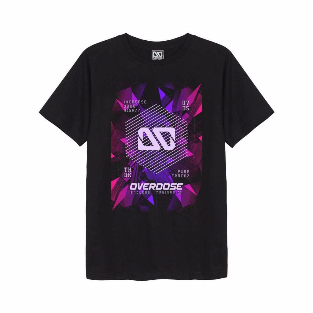 Ao thun Overdose in 3D logo OD tren nen manh pha le sac hong tim T0312