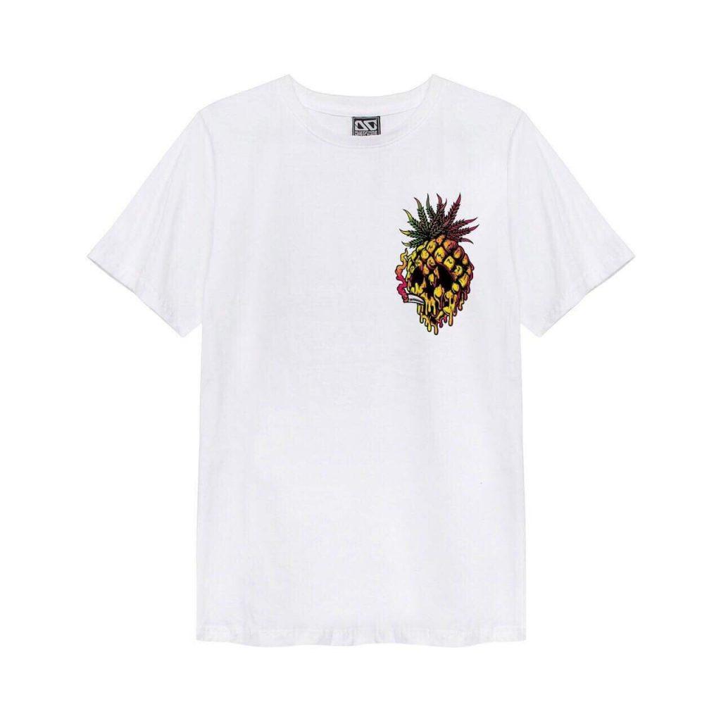 Áo thun Overdose trắng in 3D logo trái thơm vàng T0322