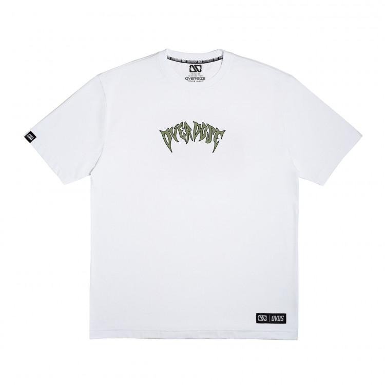 Áo thun Oversize màu trắng in chữ Overdose xanh rêu style ma quái T0341