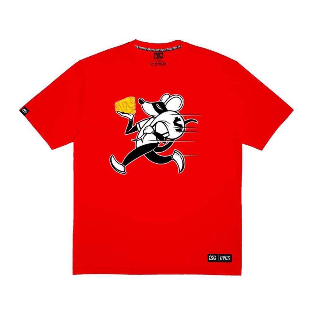 Áo thun Oversize đỏ in vua chuột trộm túi tiền và miếng phô mai vàng T0354