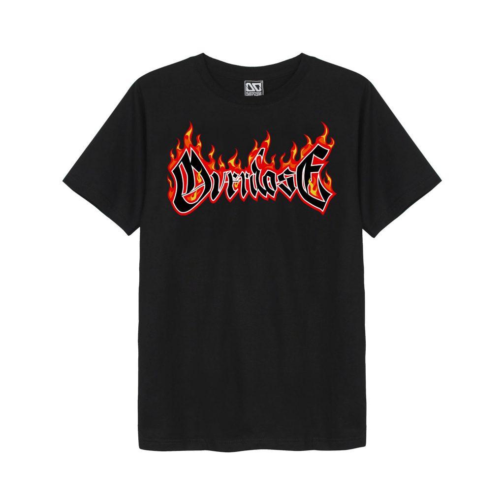 Áo phông Thái Overdose in chữ viền lửa rực cháy T0356