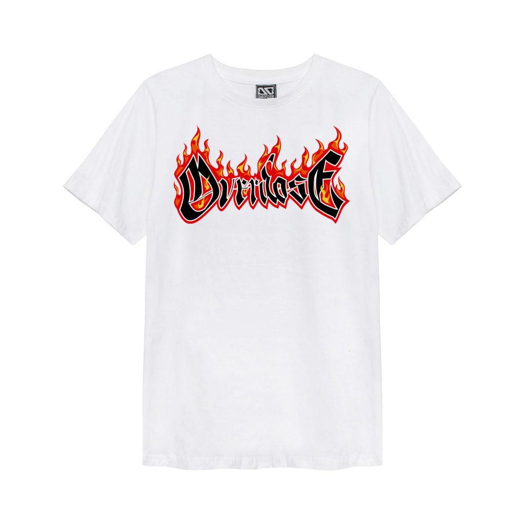 Áo phông Thái màu trắng in chữ Overdose bốc lửa T0360